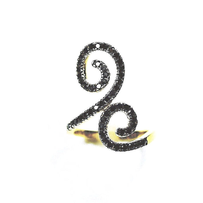 14K Double Spiral Black Diamond Statement Ring