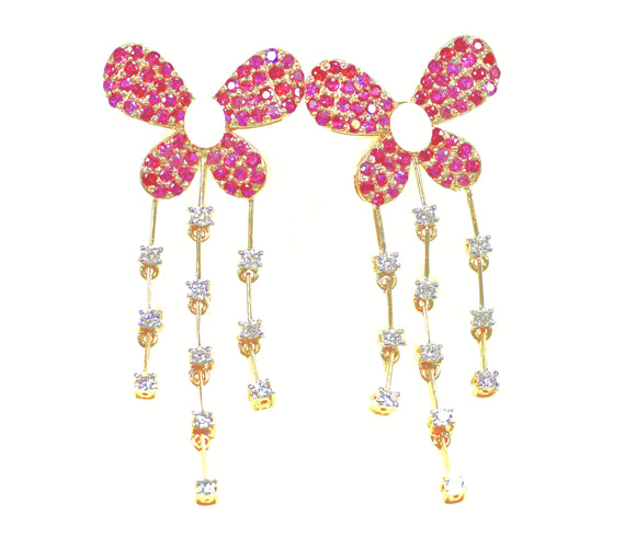 14k Diamond Ruby Butterfly Earrings - Eraya Diamonds