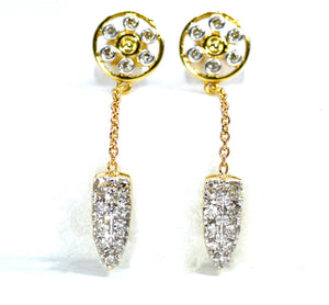 18K Diamond Wheel & Cluster Drop Earrings - Eraya Diamonds