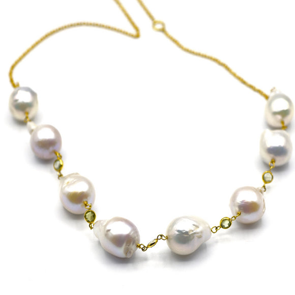 14K Baroque Pearl & Peridot Choker Necklace - Eraya Diamonds