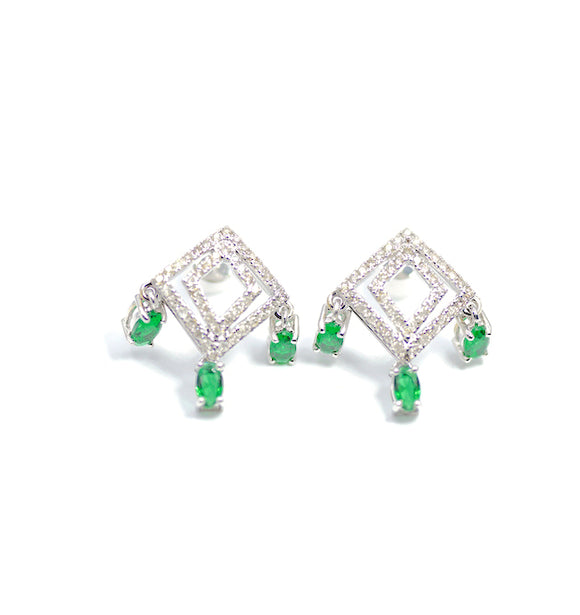 18K Art Deco Diamond Dangler Earrings