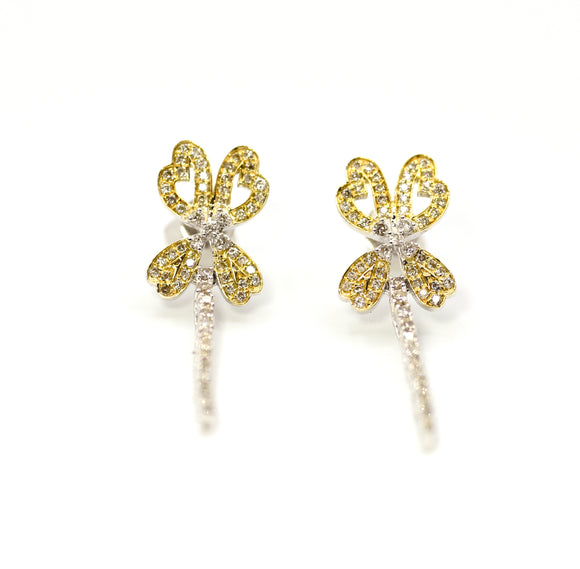 18K Butterfly Diamond Dangler Earrings
