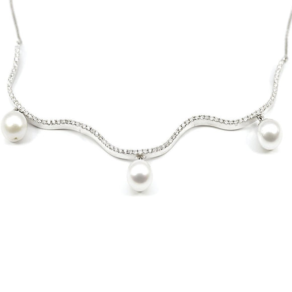 18K DIAMOND WAVE NECKLACE WITH PEARLS - Eraya Diamonds