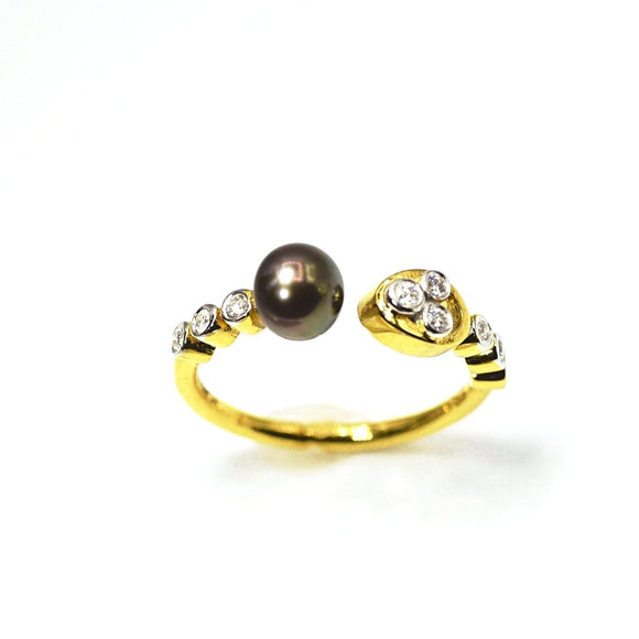 18k Diamond Pearl Open Ring - Eraya Diamonds