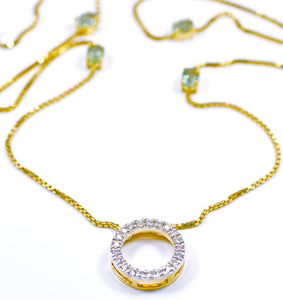 18k Diamond & Tourmaline station necklace