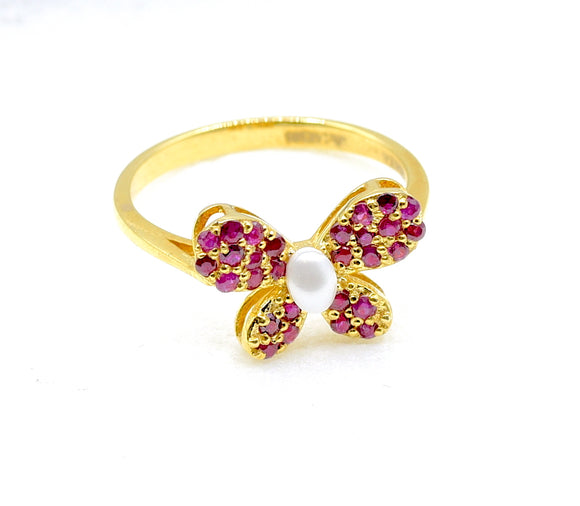 14k Pearl Ruby Butterfly Ring - Eraya Diamonds