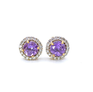 18K Diamond Amethyst Earrings