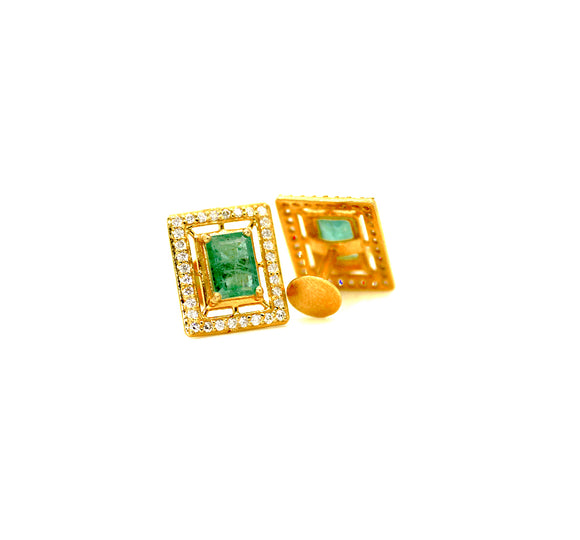 18k Diamond & Emerald Studs