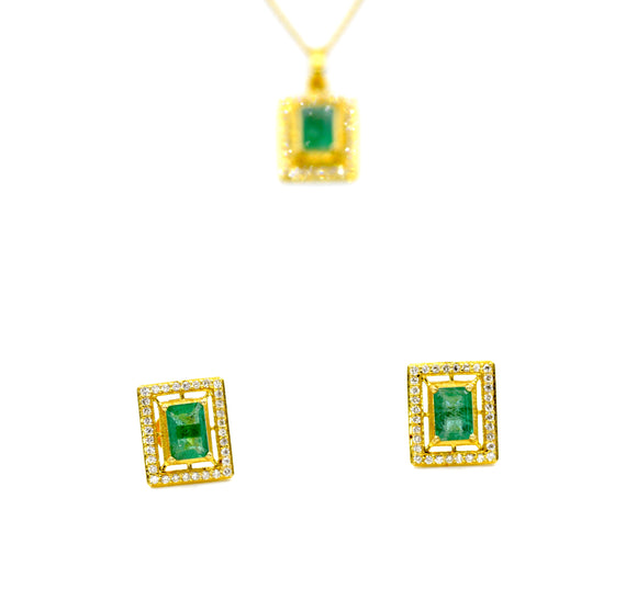 18k Diamond & Emerald Pendant set