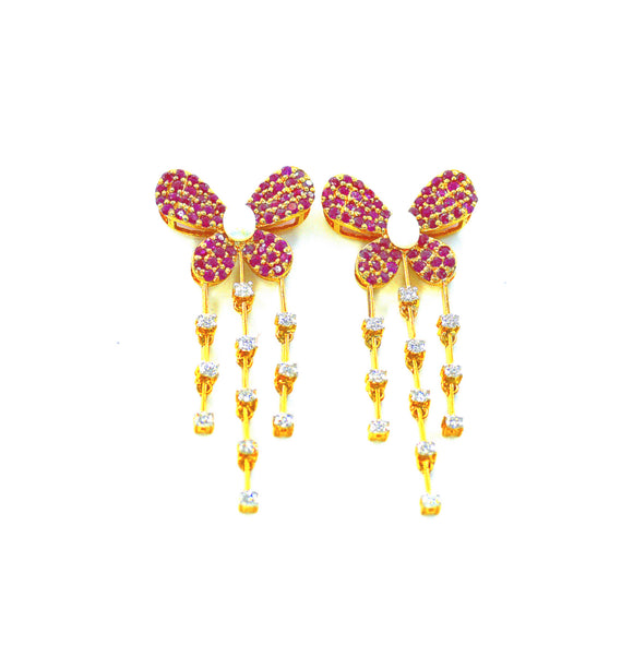 14k Diamond Ruby Butterfly Earrings