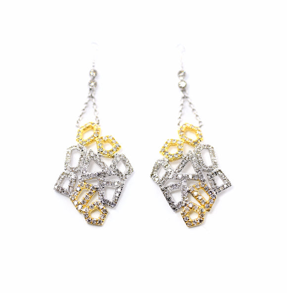 18K Honeycomb Diamond Dangler Earrings
