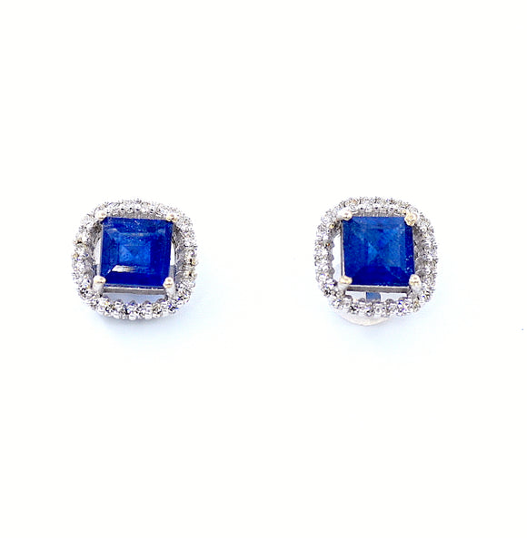 18k Diamond Sapphire Earrings