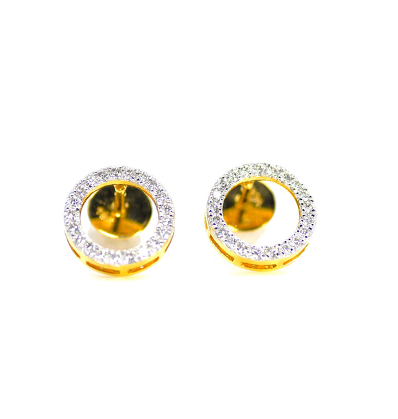 18k Diamond Circle Earrings