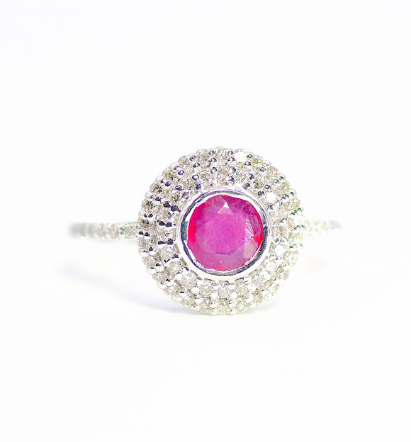 18k Diamond Ruby Statement Ring