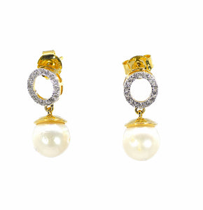 18k Diamond Pearl  Earrings