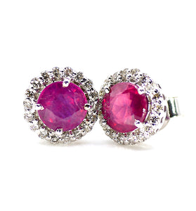 18k Diamond Ruby Earrings