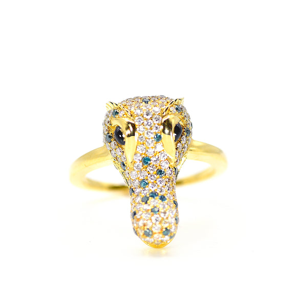 18k Alligator Diamond Statement Ring
