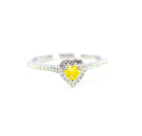 18K Yellow Heart Diamond Ring