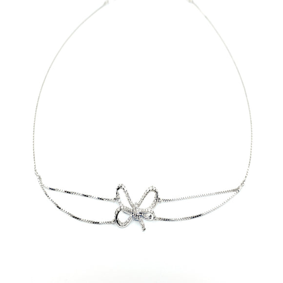 18k Diamond Bow Choker Necklace - Eraya Diamonds