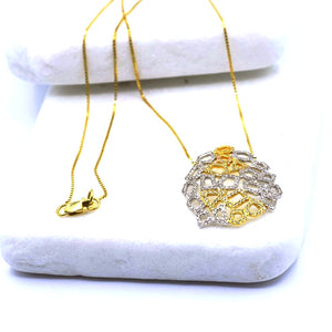 14k Honeycomb Diamond Necklace