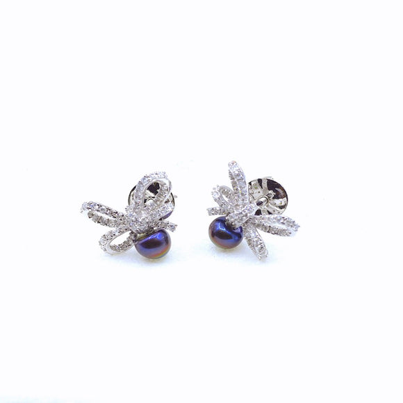 18k Diamond & Pearl Bow Earrings