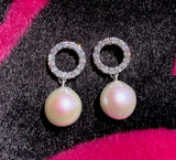 18k Diamond & Pearl Earrings - Eraya Diamonds