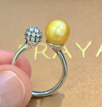 Load image into Gallery viewer, 18k Diamond dome Pearl Ring