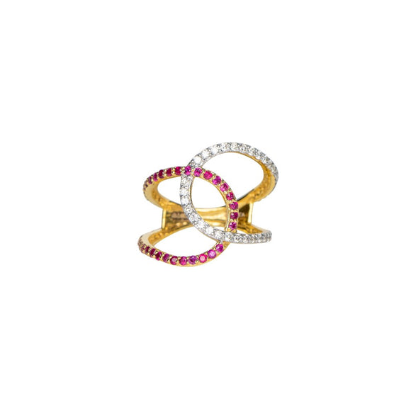Diamond & Ruby Twisted  Statement Ring - Eraya Diamonds