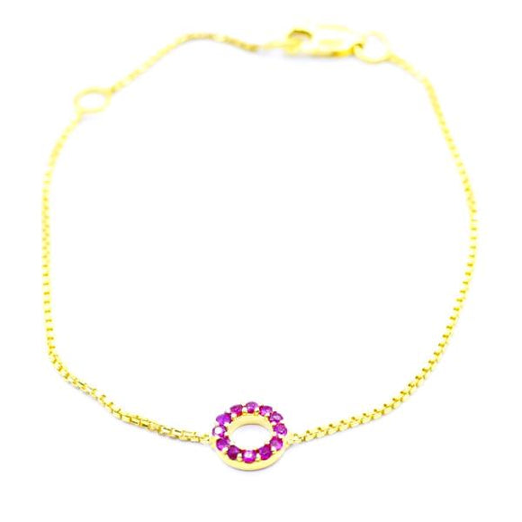 14K Gold Ruby Circle Bracelet - Eraya Diamonds