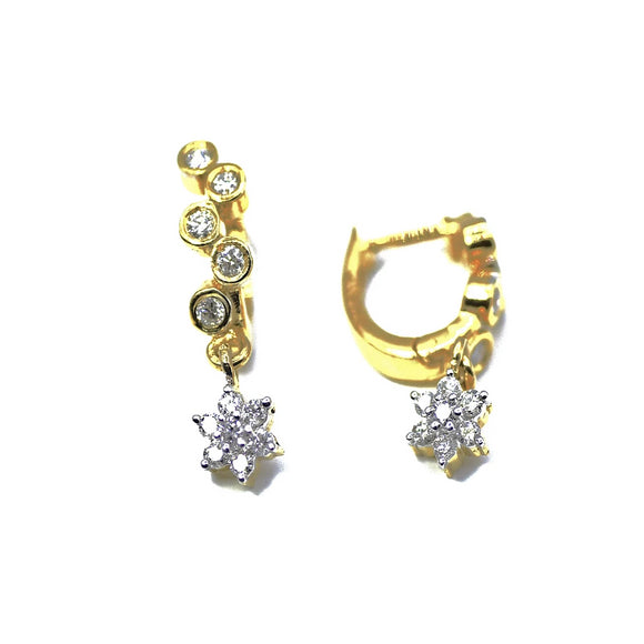 18K Snake Diamond hoop earrings with diamond drops - Eraya Diamonds