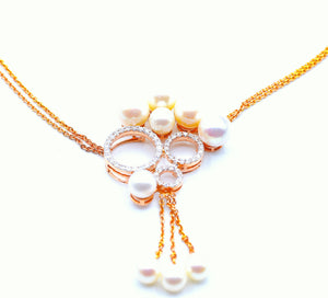 18K Trinity Diamond Pearl Statement Necklace