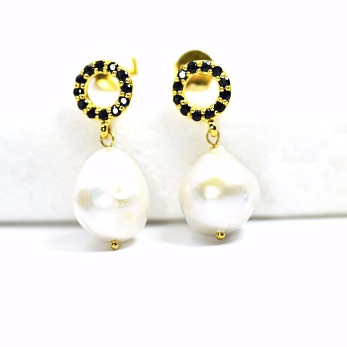 Baroque Pearl Sapphire Earrings