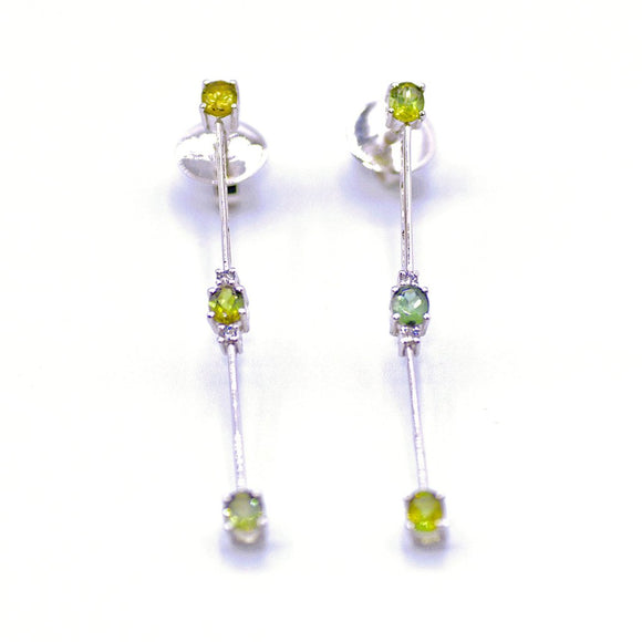 Diamond and Tourmaline Stick Earrings in 18K White Gold