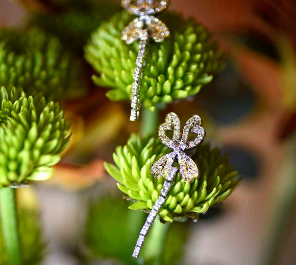 18K Butterfly Diamond Dangler Earrings - Eraya Diamonds