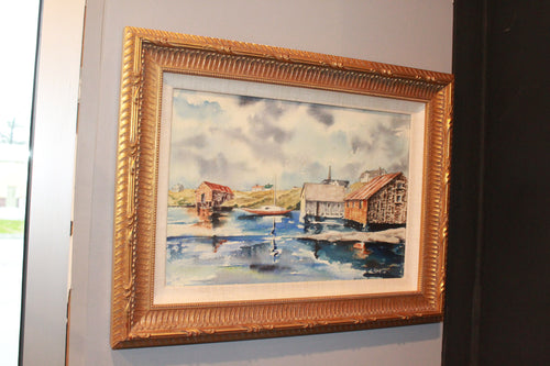 Lake Painting with Gold Frame
