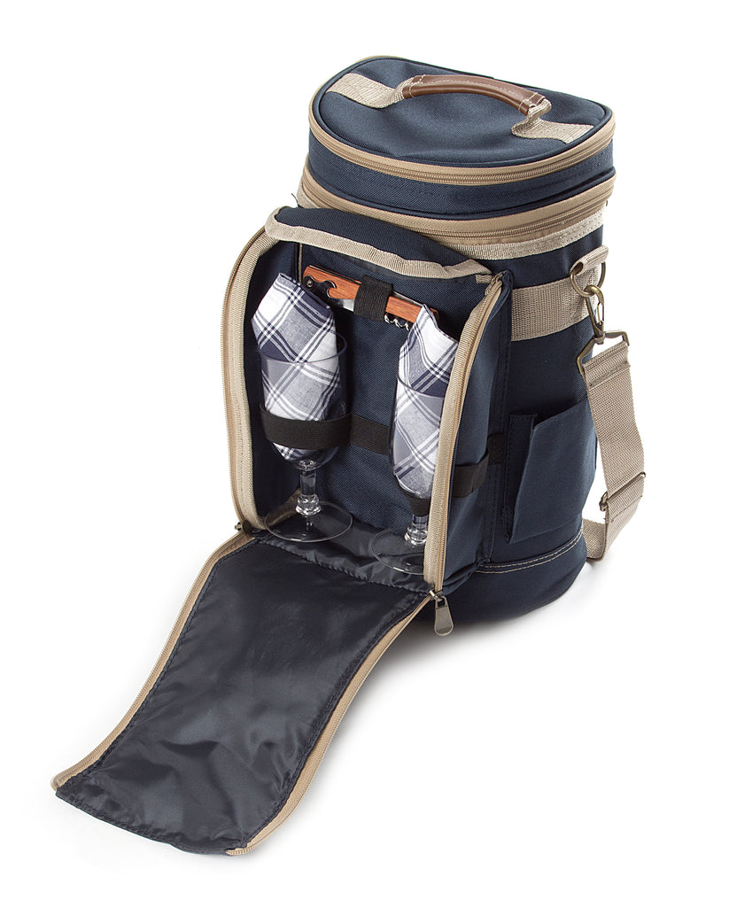 Greenfield Collection Contour Admiral Blue Wine Cooler Bag for Two People The Greenfield Collection