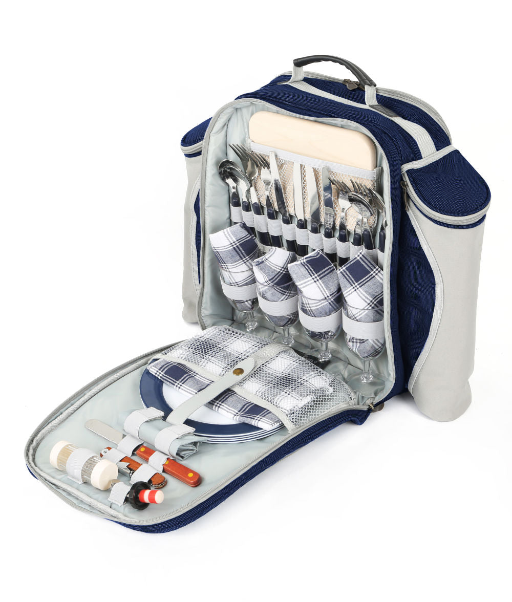 Greenfield Collection Deluxe Picnic Backpack Hamper for Four People