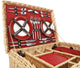 Greenfield Collection Blenheim Willow Picnic Hamper for Four People with Midnight Blue Picnic Blanket The Greenfield Collection