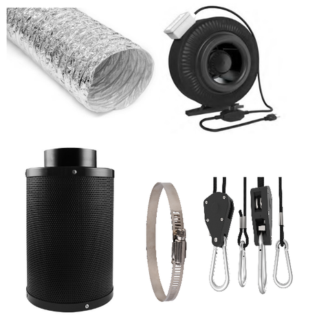 "4"" Fan, Carbon Filter, Duct Kit"