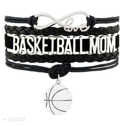 Fashion Leather Wrap Infinity Love Basketball Mom Bracelet for Women