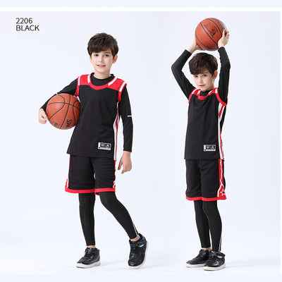 Kids Warm Sportswear Basketball Jerseys with Compression Suits