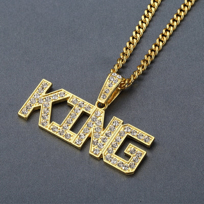 Rhinestone King Shape Pendants Necklaces