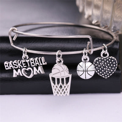 Basketball Mom Stainless Steel Bangle Bracelet