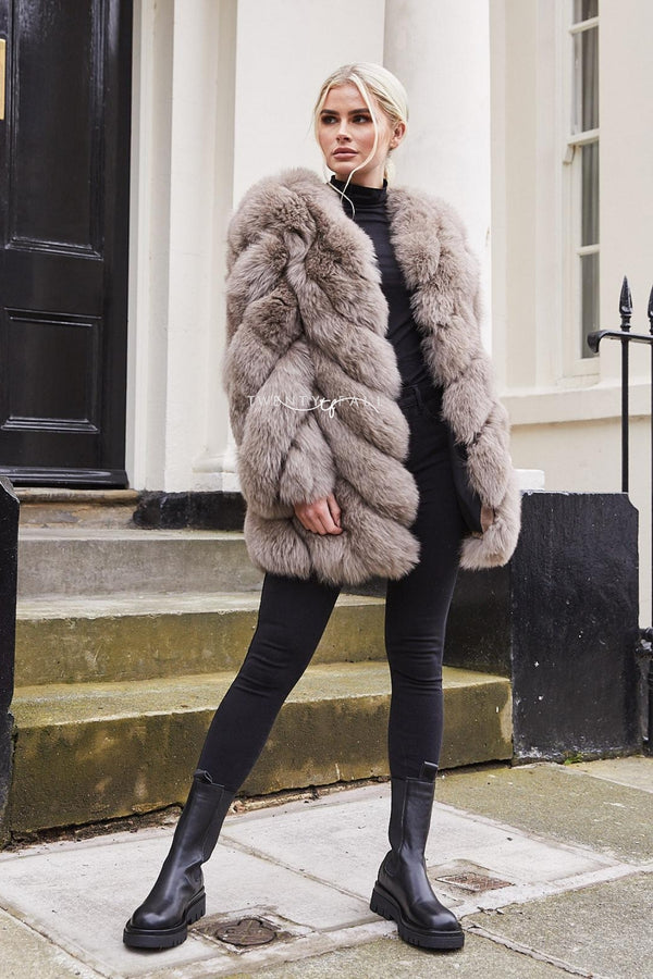 Mocha Fox Fur Twist Coat