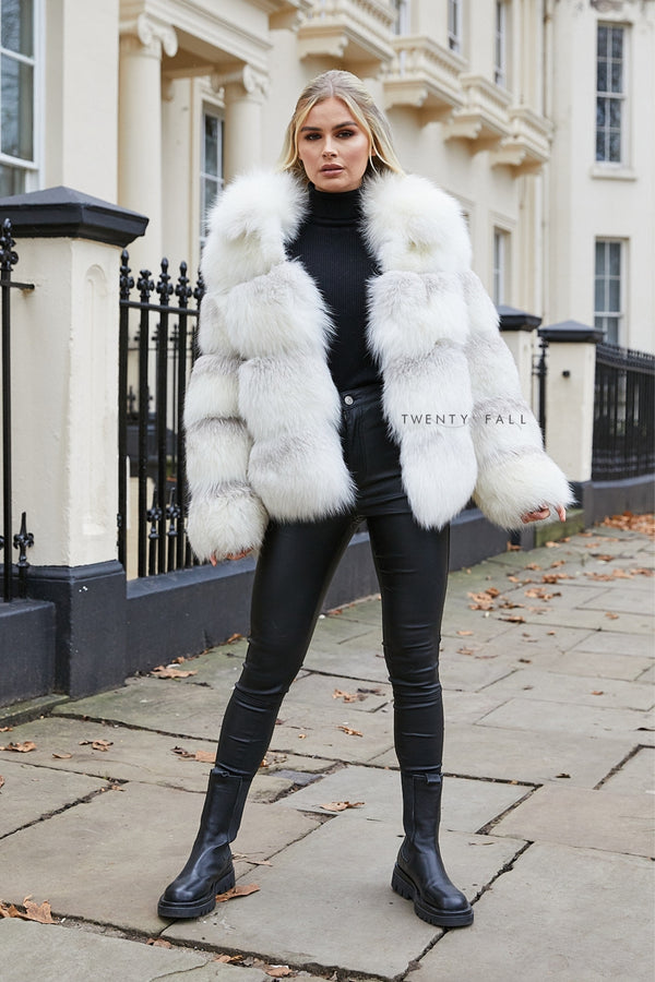 Cross Fox Fur Coat with Collar