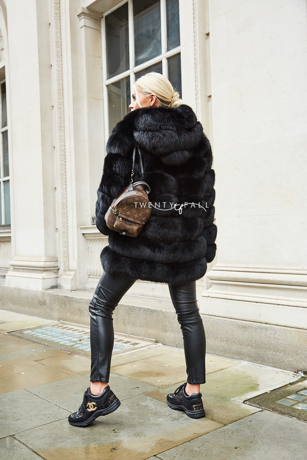 Black 7 Ring Fox Fur Coat with Hood