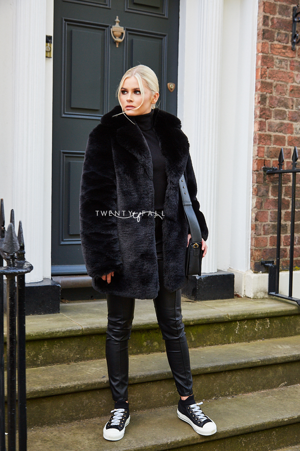 Faux Fur Full Pelt Black Coat with Collar