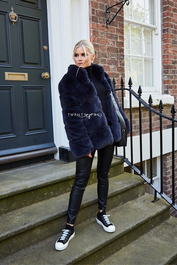 Faux Fur Lola Charcoal Coat