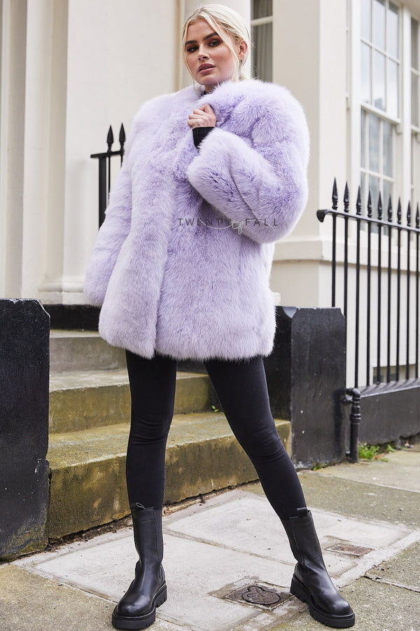 Lilac Full Pelt Fox Fur Coat