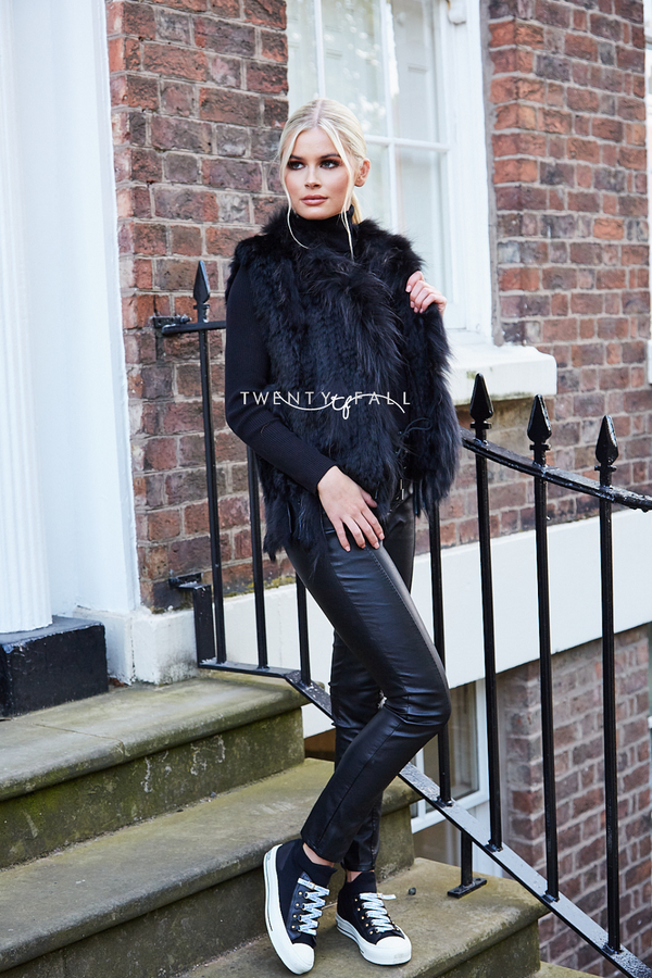 Black Knitted Fur Gilet